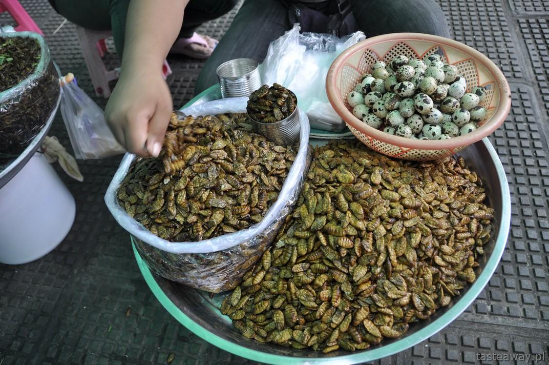 smażone robaki, Kambodża, Phnom Penh, Bazar Centralny