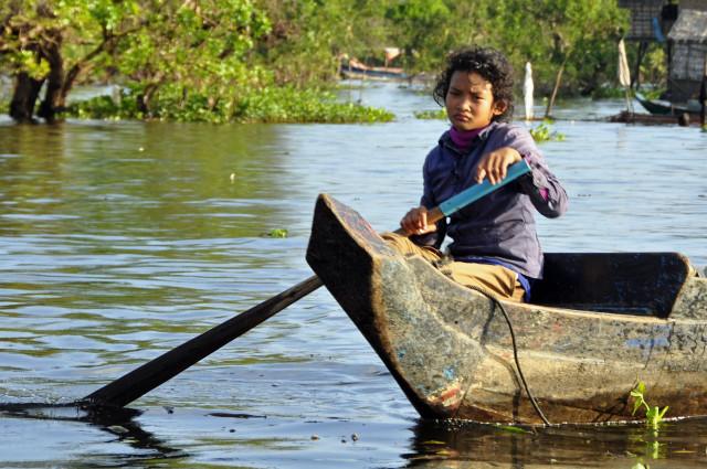 Kambodża, Tonle Sap, Kampong Phluk, pływające wioski, Siem Reap