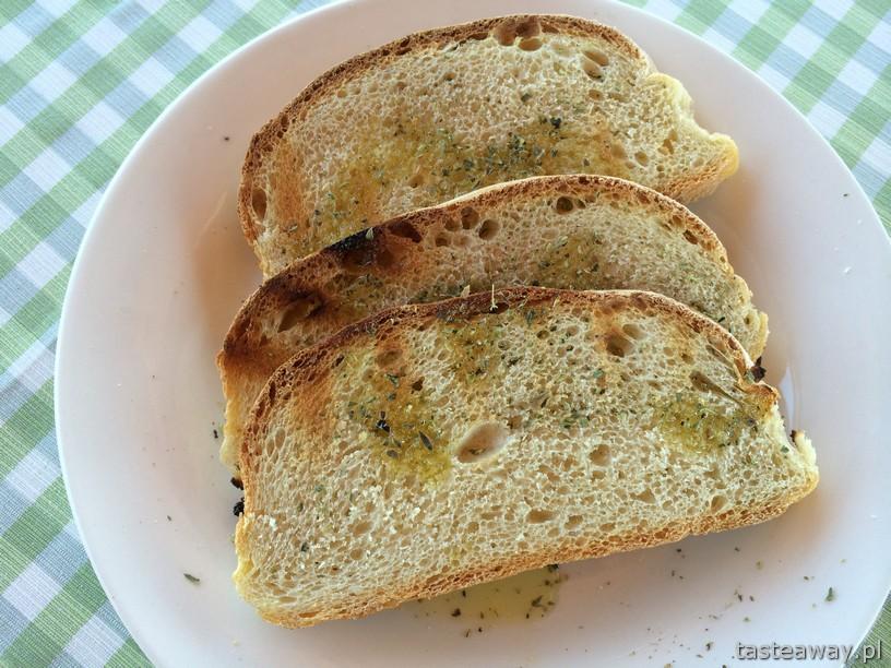 chleb, oliwa, przystawka, kuchnia grecka, Grecja, Kreta, Elafonissi, Sunset