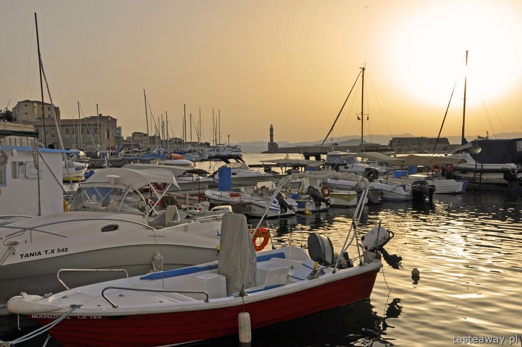 Chania, Kreta, port, kolacja w porcie