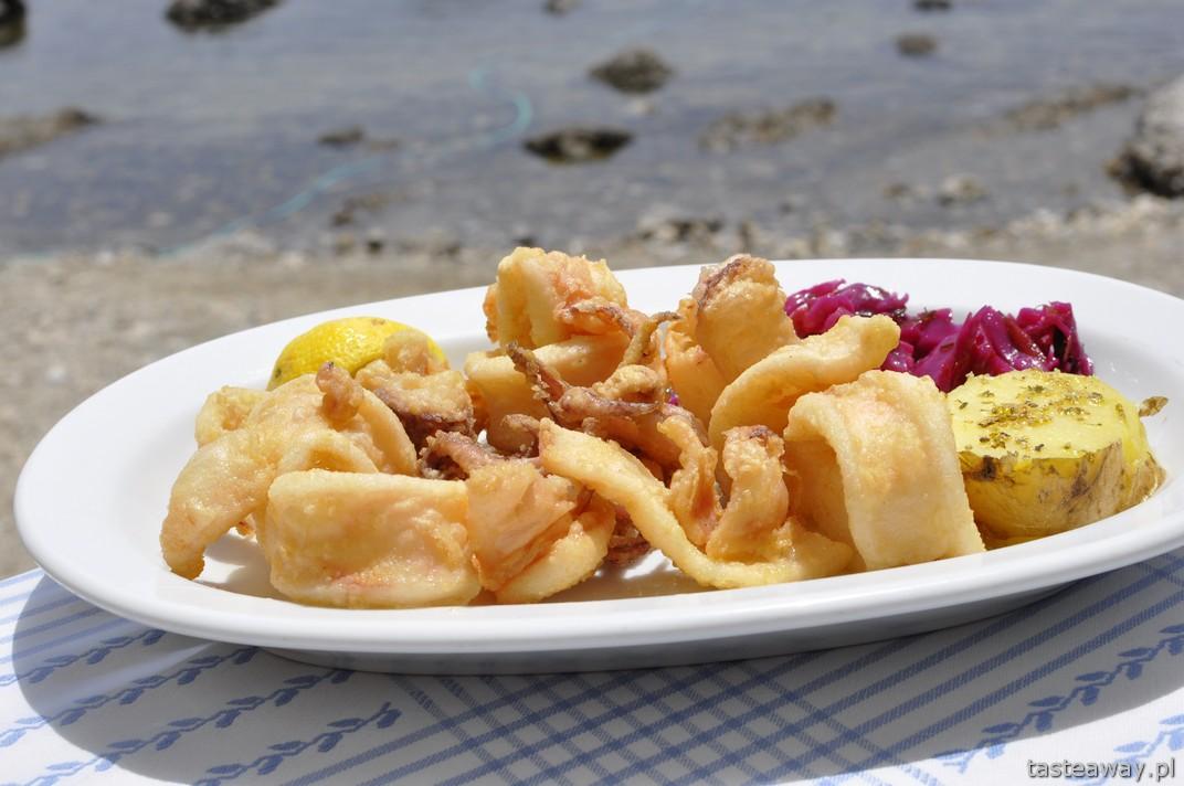 kalmary, Plakias, Kreta, owoce morza, kuchnia grecka