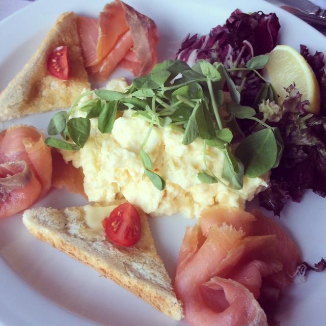 śniadanie, łosoś, Loch Leven Hotel, Szkocja,