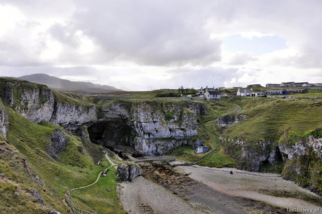 Smoo Cave, Durness, plaża, jaskinia, Szkocja, północna Szkocja
