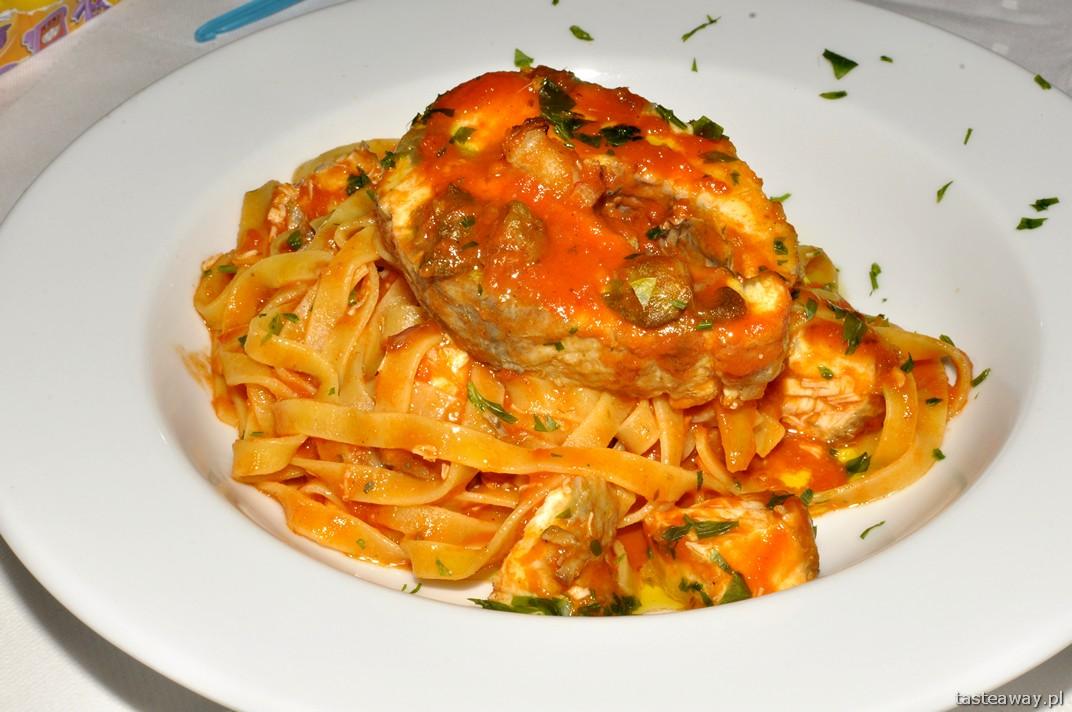tagliatelle con storione, jesiotr, Le Chalet, Murzasichle, kuchnia włoska