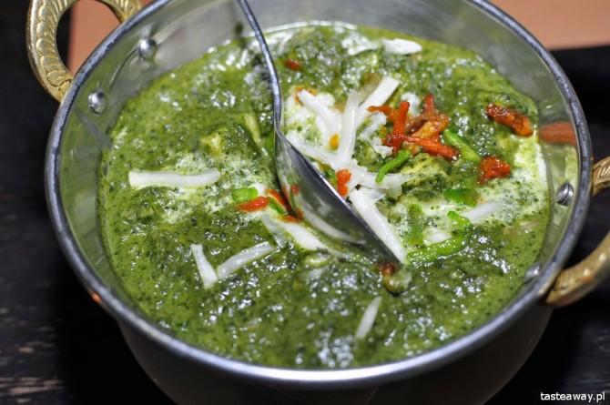 kuchnia indyjskie, gdzie na indyjskie w Warszawie, palak paneer, Bombaj Masala, Curry House, Mandala