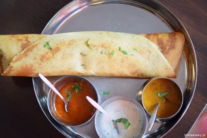 placek dosa, chicken masala dosa, kuchnia indyjska, restauracje indyjskie, Warszawa, Mr India