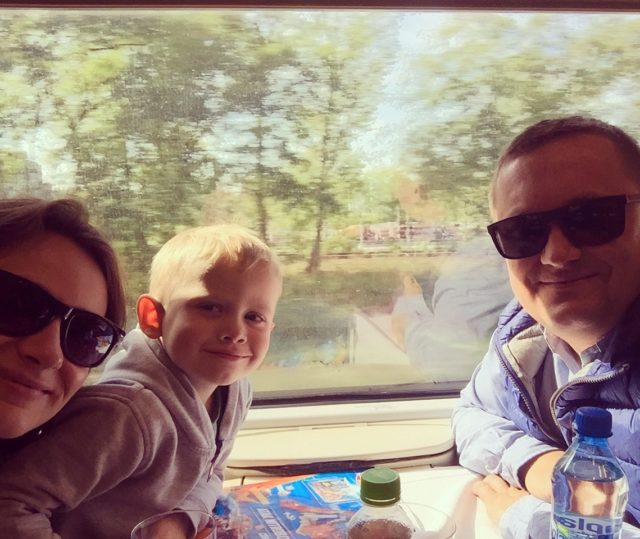travelling, by train with a child, a child on a train