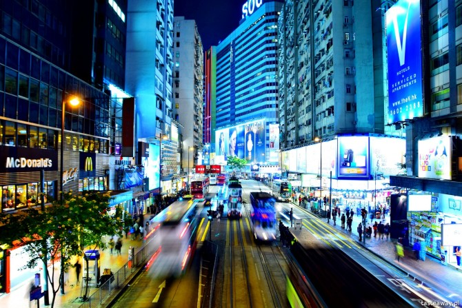 Hongkong, Hongkong nocą, Hongkong by night, zdjęcia z Hongkongu