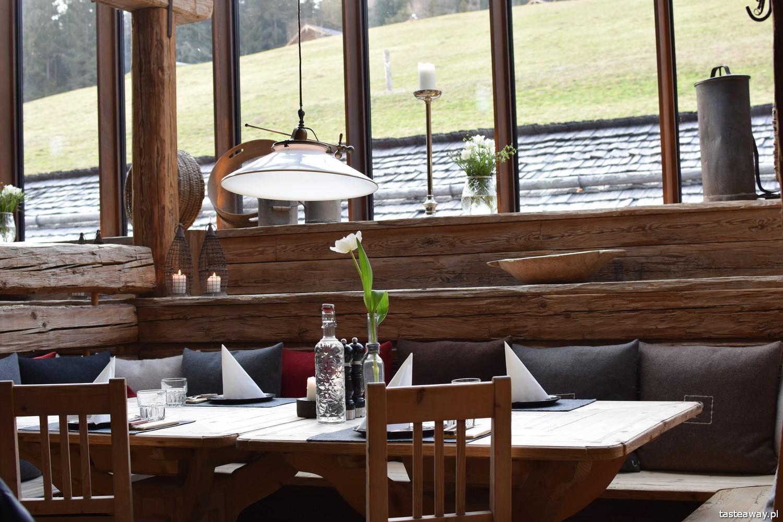 Leogang, Hut Essen, grillowanie na czapce, Priesterreg, Austria, kuchnia austriacka, górska chata