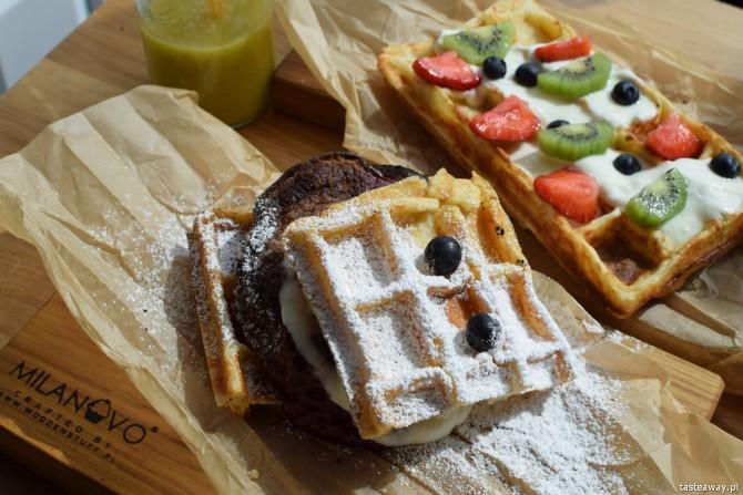 Milanovo Bread Wine Cafe, śniadanie, Mokotów, gdzie na śniadanie, śniadanie na mieście, Warszawa, gofry śniadaniowe