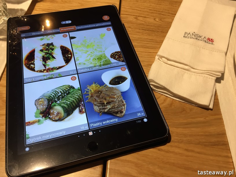 kuchnia chińska, kuchnia chińska w Warszawie, gdzie na chińska, nowe chińska, Pańska 85, menu na tablecie
