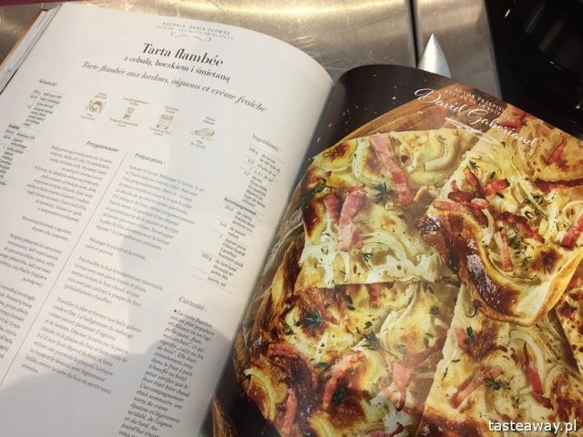 """warsztaty kulinarne,  """"Z miłości do smaku"""" książka Carrefour, David Gaboriaud, kuchnia francuska, gotować po francusku, książka z francuskimi przepisami, tarta flambee"""