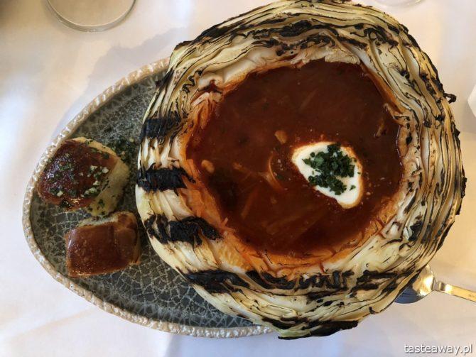 Kanapa, kuchnia ukraińska, kuchnia ukraińska w Warszawie, Mokotów, kolacja ze znajomymi, obiad, barszcz ukraiński, barszcz w kapuście