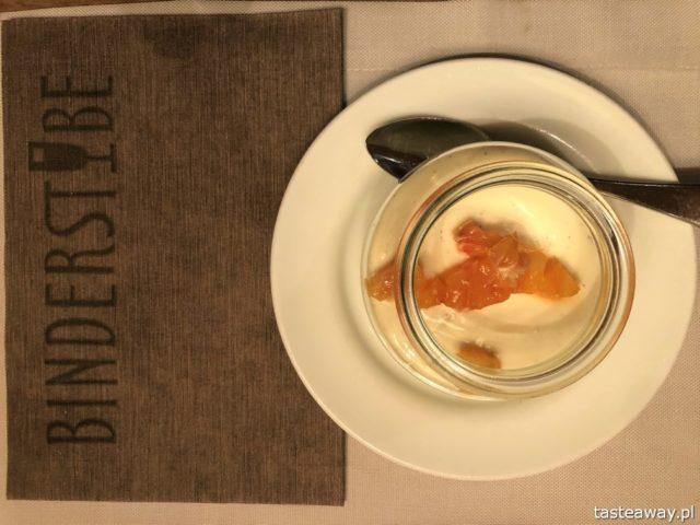 Binderstube, najlepsze restauracje Południowego Tyrolu, gdzie jeść w Południowym Tyrolu, makaron, panna cotta