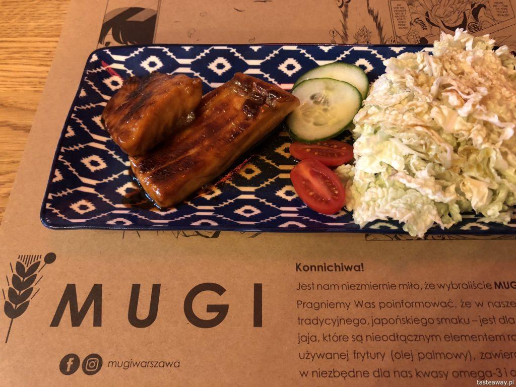 Mugi, japońskie w Warszawie, gdzie na japońskie, Mugi, onigiri, łosoś w sosie teriyaki