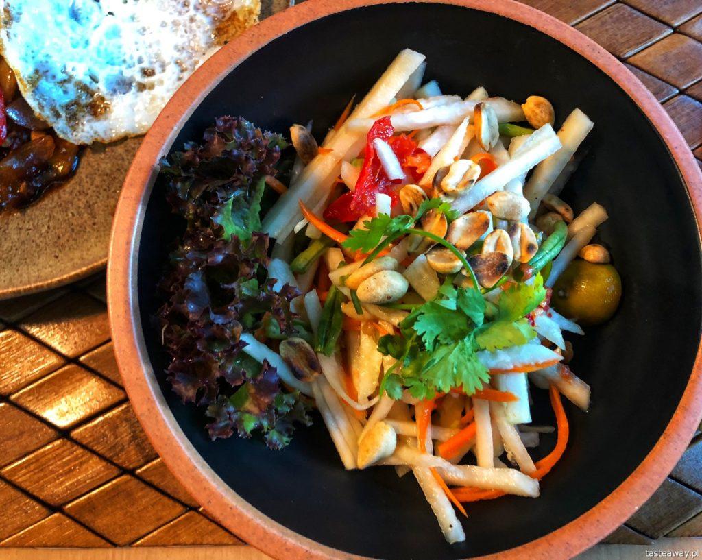 kuchnia tajska, gdzie na tajskie, tajskie w Warszawie, som tam, sałatka z papai, Koh Phangan