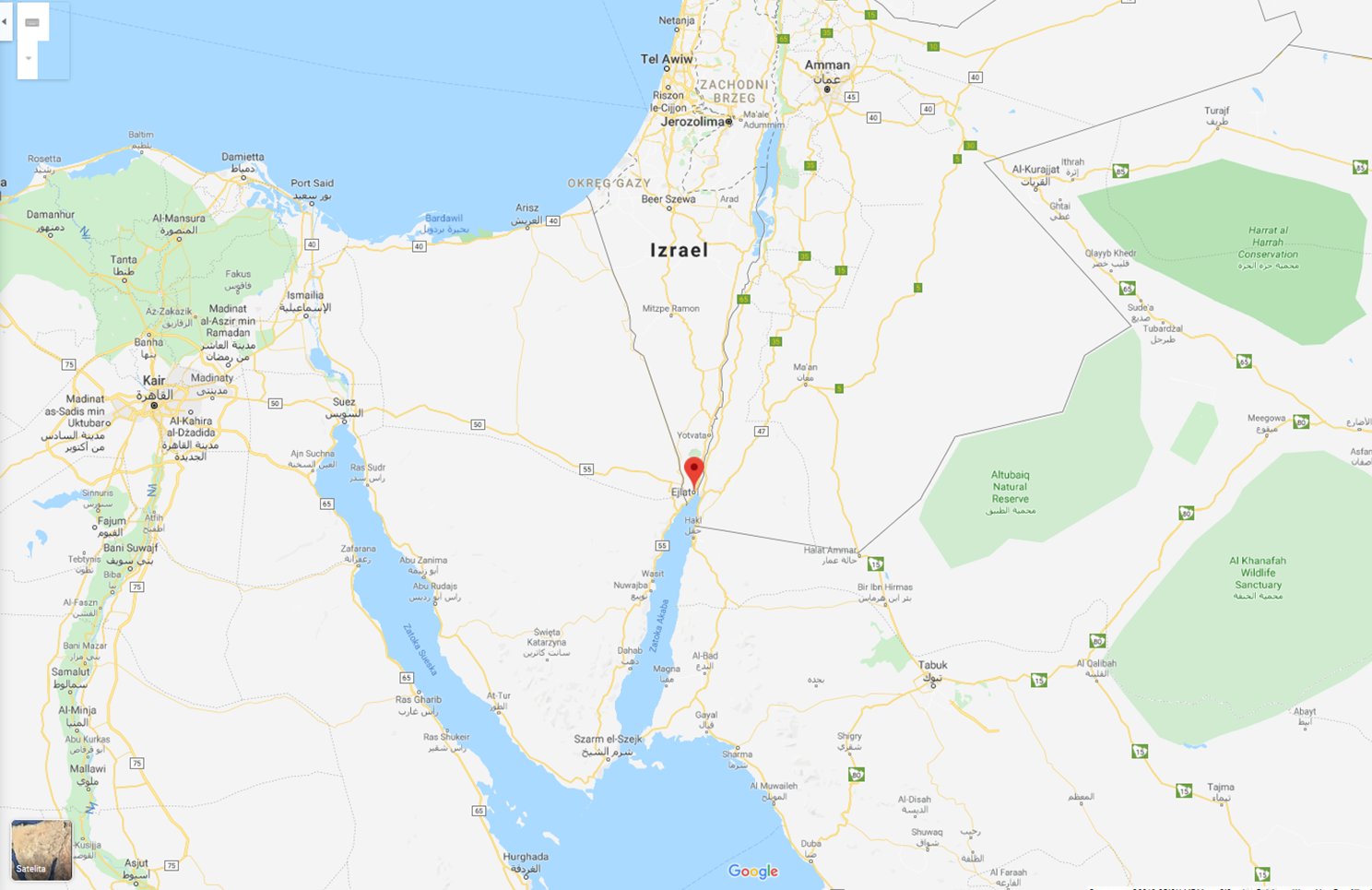 mapa Ejlat