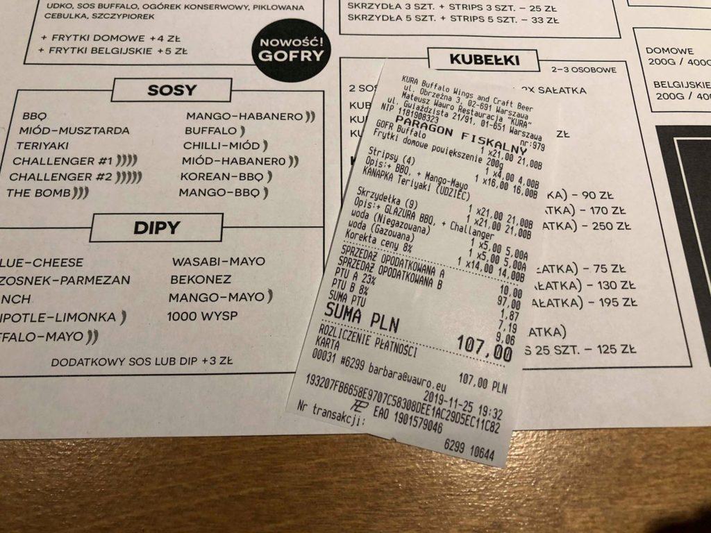 rachunek za 2 osoby dorosłe i 2 dzieci - nie daliśmy rady skończyć!!