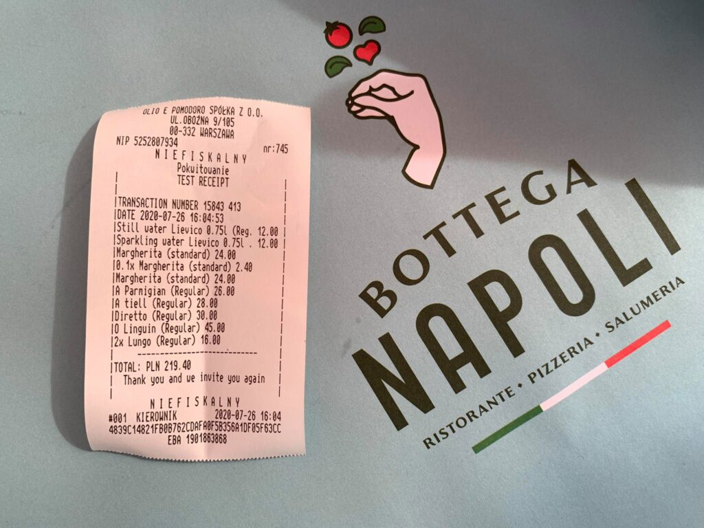 Bottega Napoli_rachunek_obiad 4 osoby