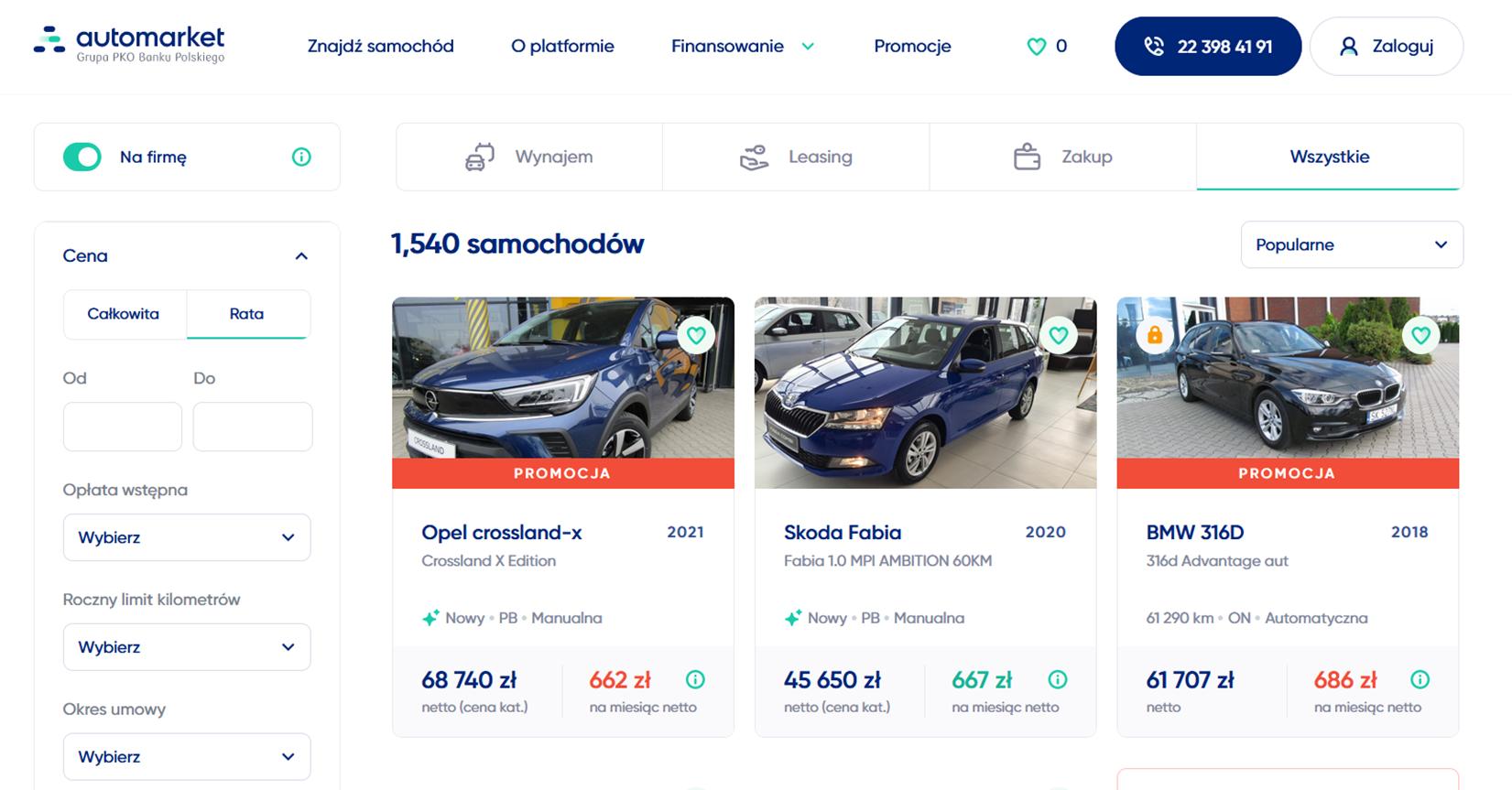 Automarket wybór samochodu